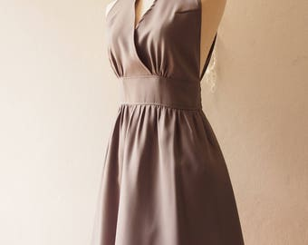 Charcoal Gray Formal Dress Gray High Neck Elegant Party Dress Gray Bridesmaid Dress Wedding Party Dress Prom Evening Dress