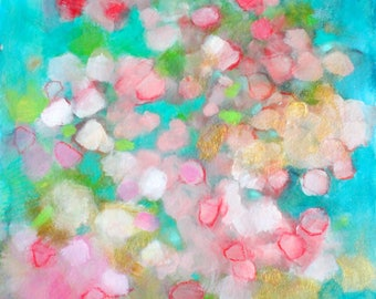 """Colorful Abstract Painting, Teal, Pink Original Art on Paper, """"Floating Petals"""", 12x12"""""""