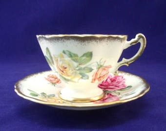 Hammersly Footed Cup and Saucer, English Bone China, Pink and Yellow Roses