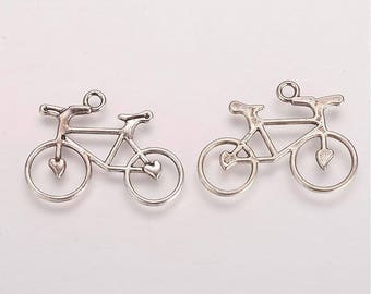 Antique Silver BIKE Charms / Pendants, Lead Free, 24mm Long x 31mm Wide x 2mm Thick, Hole: 2mm