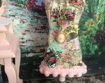 Dollhouse Miniature Shabby Chic Embellished Dress Form Tailor Mannequin Sewing