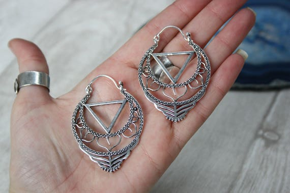 XL TRIBAL EARRINGS -Divine Feminine - Tribal jewellery- Sacred Geometry - Lotus Flower- Silver Plated - Gift Set- Flower earrings