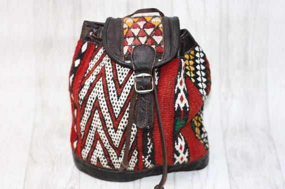 MINI CARPET BAG - Embroidered ethnic bag - Hippie rucksack - Boho Backpack - Aztec rucksack - Vintage Backpack - Moroccan - Bespoke -Retro