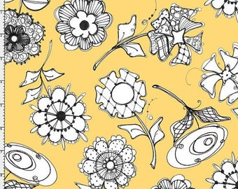 ON SALE Floral Fabric, Loralie Bee Happy Fabric, Yellow Floral Fabric, Bee Happy, Bee Fabric, Yellow Fabric, Floral fabric, 1 yard fabric, 0