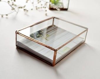 "Photo Display Box 8"" x 10"" Glass Box Glass Display Box Glass Jewelry Box Wedding Display Box Clear Glass Jewelry Box Made To Order"