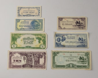 Currency Collection WWII South Pacific, Japanese Notes, Invasion Money and GI Momento Made from Currency