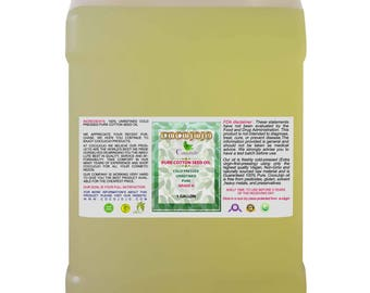 Pure Cotton Seed Oil 100% All Natural, Unrefined, Cold Pressed, Extra Virgin