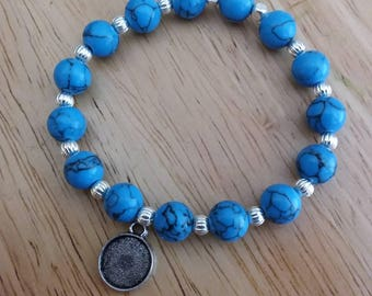 Turquoise stretch bracelet charm initial silver gift girls women's