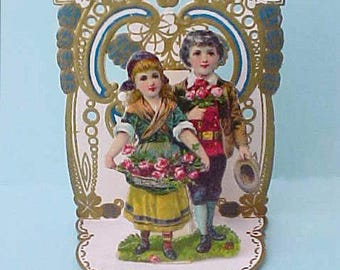 "Darling 1920's Era Standup Die Cut Valentine Card-""There's Room For Two in This Heart of Mine"""