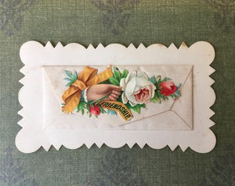 Unusual and Most Charming Victorian Calling Card with a Separate Little Card Inside