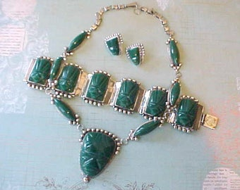 Gorgeous Vintage Estate Mexican Silver Jewelry Pieces with Aztec Designs Set With Chrysophase