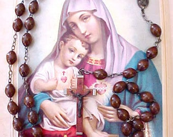 Handsome Vintage Rosary with Large Wooden Beads
