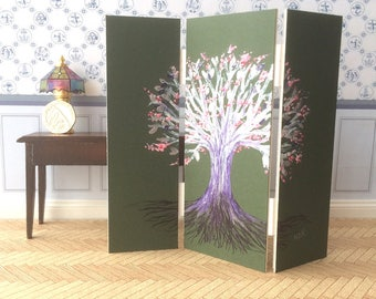 Dolls House Screen Tree of life Original art as a unique piece of Dollhouse Furniture