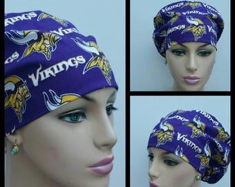 Mini - Chemo Cap - Nurses Hat - European Style - NFL - Minnesota Vikings - 100 %  Cotton