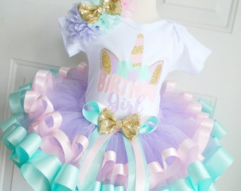 Unicorn Birthday Tutu Outfit - Unicorn Birthday Set - Unicorn Tutu - Unicorn Birthday - Pastel Unicorn - Unicorn Birthday Girl - Ribbon Tutu