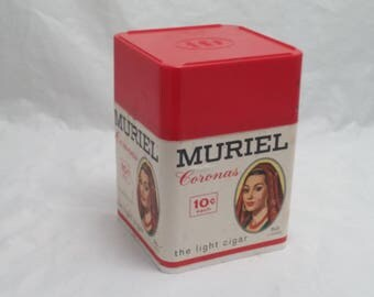 Vintage MURIEL Coronas Plastic Cigar Storage Case - 10 cents each - The Light cigar - Hold 50 cigars - Store display, counter display