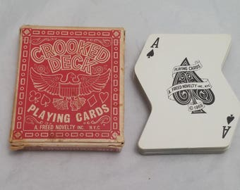 1969 CROOKED DECK Playing Cards - The Crooked Deck by A. Freed Novelty Inc. N.Y.C. - 52 cards + 2 jokers