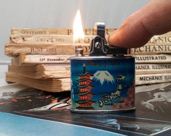 1950s Pacific Lighting 100 Percent Automatic Lighter - Memories of Japan, Mount Fuji - Rehabbed, working