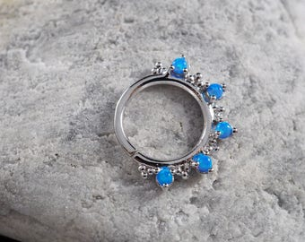 Five stone Skyblue Opal with cluster trinity ball hoop Daith earring / Cartilage / Septum ring / Nose ring