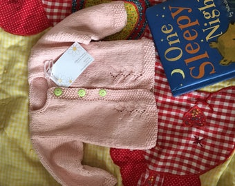 Handknit Baby Sweater. Cardigan