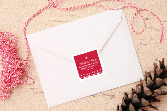 Feliz Navidad Address Labels - Picado Flag Return Address Christmas - 2 inch square