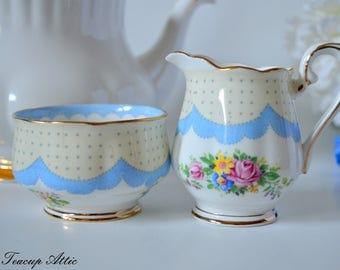 Royal Albert Crown China Blue Prudence Cream And Sugar Set, English Bone China Open Sugar Bowl and Creamer, ca. 1927-1935