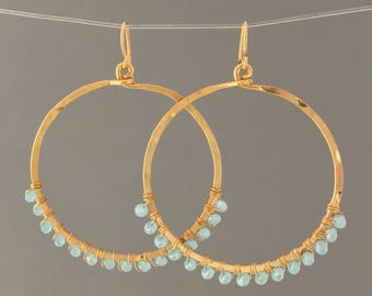 Light Blue Beaded Wrapped Gold Hoop Earrings