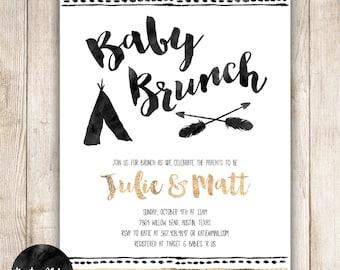Baby Brunch, Shower Brunch, Tribal Baby, Aztec, TeePee, Arrows, Black, White, Gold, Custom Baby Shower Invitation, Digital or Printed- 018