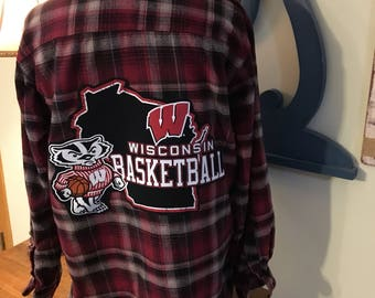 Upcycled Flannel Shirt, University of Wisconsin Basketball Flannel, Recycled T-shirt Back Patch, Wisconsin Badgers, Wisconsin Basketball Fan
