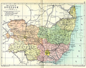 Suffolk 1895, Antique English County Map of Suffolk, England by Philips - MAP PRINT