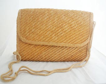 Purse - Oversize Neutral Straw Summer rectangular purse with rope strap
