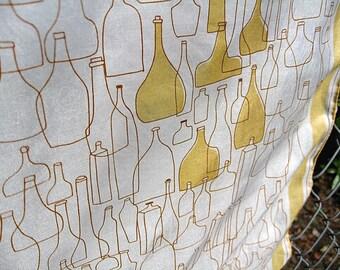 Vera Neumann Vintage Bottles and Decanters Scarf Silk Rayon Blend Yellow Golden White Vera Bug Signature Some Hem Threads Loose C Detail
