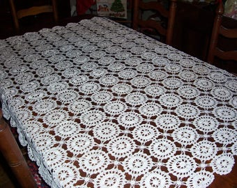 "Beautiful Vintage Hand Crocheted Tablecloth...Circle Medallion Pattern in Off White Color...64"" x 54""..Hand Made Lace Table Cloth..."