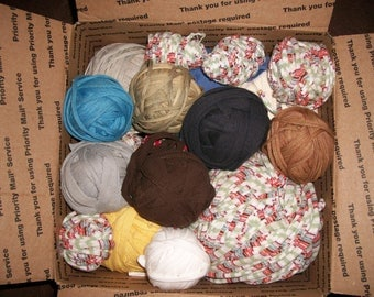 Vintage Balls of Rug Making Fabric...Rug Weaving...Rug Crocheting...Fabric by the Roll...Over 6 Pounds of Fabric Strips...Box 2...