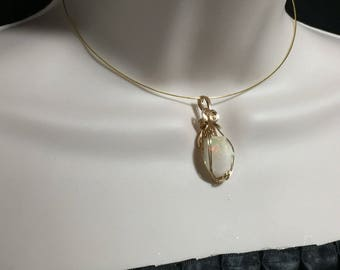 Ethiopian OPAL PENDANT Pinks - 14k Gold Fill - Wire Wrapped Jewelry 985g