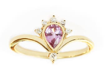 Pear Sapphire Engagement Ring, Pink Sapphire Ring, Gold Sapphire Ring, Sapphire & Diamond Ring, Diamond Sapphire Ring, Pink Engagement Ring