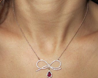 Natural Red Ruby Pendant Necklace, Bow Necklace, White Gold Necklace, Diamond Necklace, Solid Gold Pendant, Ruby Necklace.