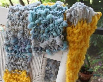 XMAS IN JULY up to 50%off Sale Hand Knit Scarf, Golden Years by David Bowie, RocknRoll, Yellow, Gray, Blue Handspun Hand Dyed Super Soft Bul