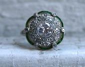Gorgeous Antique Platinum Diamond and Emerald Ring Engagement Ring - 2.44ct.