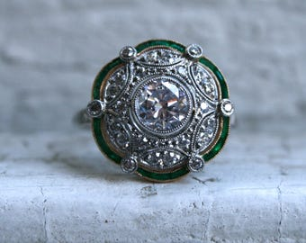 Gorgeous Antique Platinum Diamond and Emerald Ring Engagement Ring - 2.44ct.