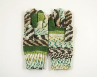 Knitted Men's Gloves , Hand Knitted Unisex Gloves - White, Green and Brown, Size - Large