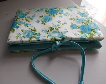 Lingerie Bag Vintage - Aqua Blue Lingerie Bag - Blue Floral Lingerie Bag - Vintage Ladies Accessories - Satin Lingerie Bag