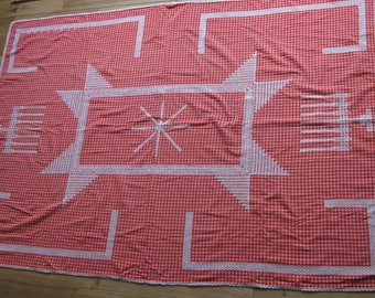 Red rectangle tablecloth with white embroidery, French folk art table linens