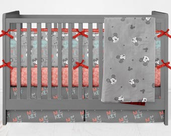 Crib Bedding Mickey Mouse Toddler Sheets Blanket Bumpers Skirt Gray Red White Modern Lolas Lovies handmade baby bedding