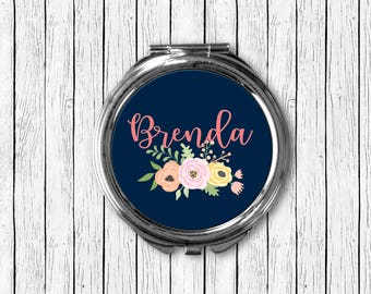 Custom Name Compact Mirror - Navy Background with Pink Text