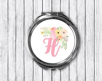 Monogrammed Compact Mirror, Pink Compact Mirror, Monogrammed Mirror