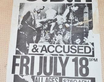 Rare 80's 90's G.B.H. And The Accused Portland Oregon Original Concert Poster Vintage Punk Rock Black Flag Dead Kennedys Minor Threat