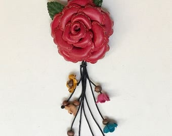 Multi Purpose Large Leather Rose stitched Flower Bag / Purse Charm, key chain, brooch, hair clip