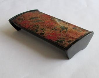 Japanese Lacquerware Footed Toothpick Holder with Lid Trinket Dish Serving Dish 1950s-60s