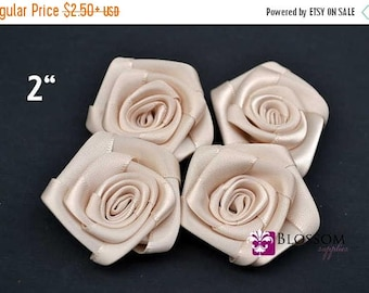 """ON SALE CREAM - The Lydia Collection - 2"""" Satin Rolled Ribbon Flowers - Diy Flower Headbands - Petite Rosettes - Blossom Supplies Champagne"""